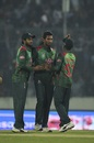 Mahmudullah is congratulated by his team-mates, Bangladesh v West Indies, 3rd T20I, Mirpur, December 22, 2018