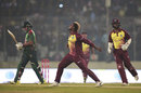 Fabian Allen roars in delight after getting Soumya Sarkar, Bangladesh v West Indies, 3rd T20I, Mirpur, December 22, 2018
