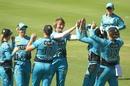 Sammy-Jo Johnson celebrates a wicket with teammates, Sydney Sixers v Brisbane Heat, Women's Big Bash League 2018-19, Sydney, December 23, 2018