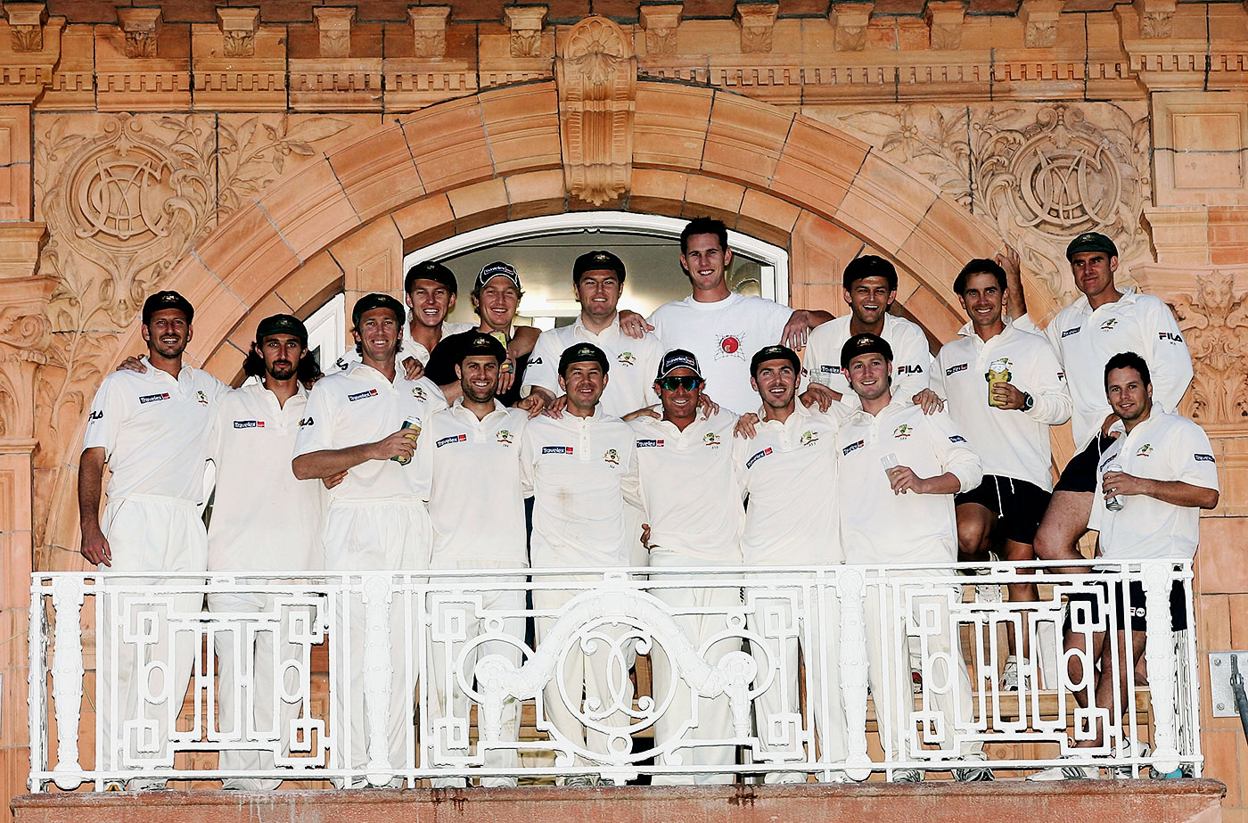 JL with his elite mates: after winning the Lord's Test in 2005, Langer led his team into the England dressing room to sing the Australian team song
