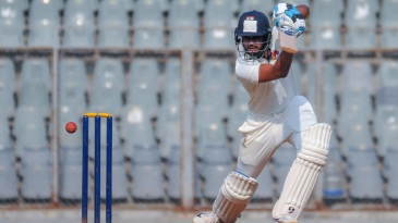 Shreyas Iyer drives through the covers