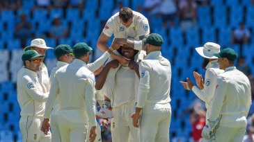 Dale Steyn is carried on Kagiso Rabada's shoulders after his South Africa record 422nd Test wicket