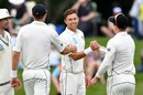 Trent Boult celebrates with his team-mates, New Zealand v Sri Lanka, 2nd Test, Christchurch, 2nd day, December 27, 2018