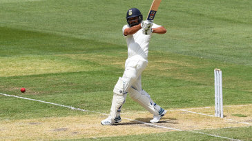 Rohit Sharma pulls of the front foot