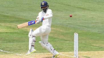 Ajinkya Rahane plays through the leg side