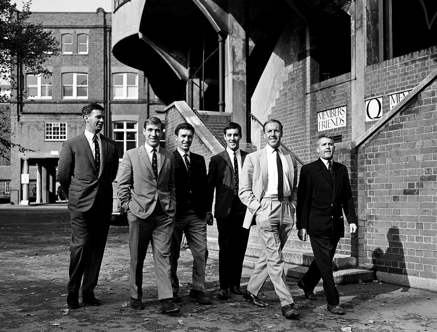 The Middlesex crew in 1964: Brearley, third from right, flanked by Fred Titmus on his right, and John Murray. Peter Parfitt is second from left