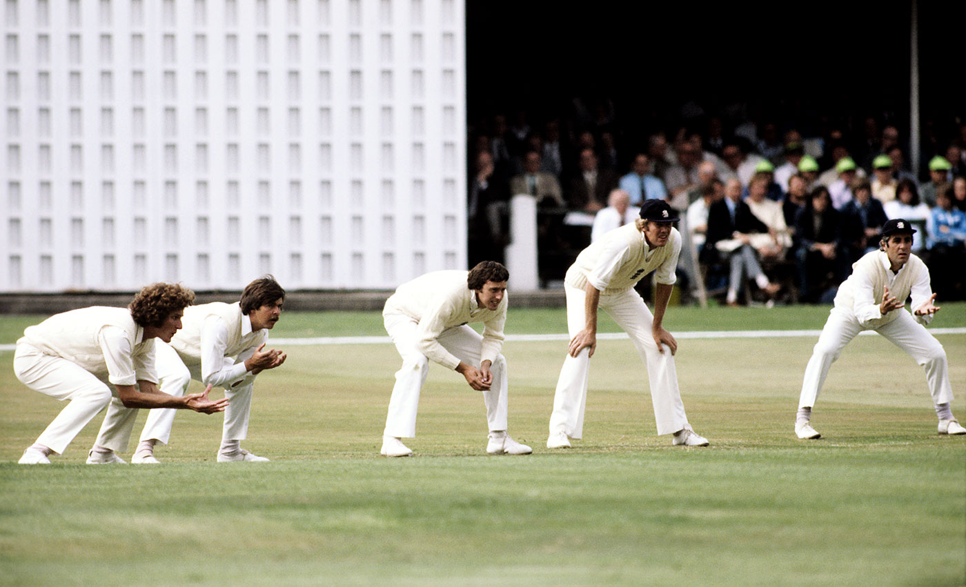 Brearley at first slip for England at Trent Bridge 1977