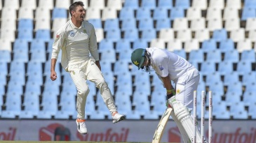 Duanne Olivier celebrates the wicket of Imam-ul-Haq