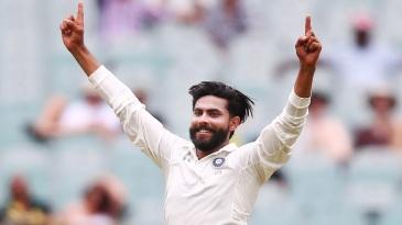 Ravindra Jadeja is overjoyed after taking a wicket