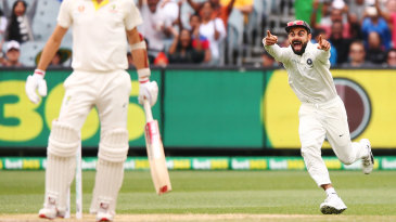 Virat Kohli is overjoyed at Pat Cummins' dismissal