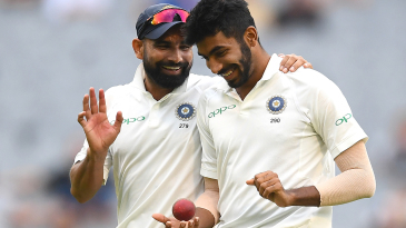 Mohammed Shami and Jasprit Bumrah share a laugh