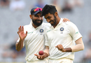 Mohammed Shami and Jasprit Bumrah share a laugh, Australia v India, 3rd Test, Melbourne, 4th day, December 29, 2018