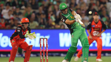 Marcus Stoinis powers the ball down the ground