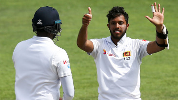 Kusal Mendis celebrates his sixth Test hundred, in the draw in Wellington last year