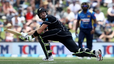 Martin Guptill sweeps the ball fine