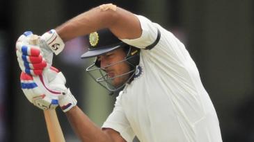 Mayank Agarwal defends off the back foot