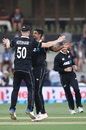 Ish Sodhi celebrates with Jimmy Neesham after a wicket, New Zealand v Sri Lanka, 1st ODI, Mount Maunganui, January 3, 2019