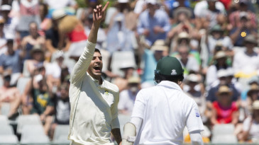 Duanne Olivier celebrates the wicket of Azhar Ali