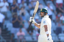 Aiden Markram raises his bat for fifty, South Africa v Pakistan, 2nd Test, Cape Town, 1st day, January 3, 2018