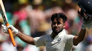 Rishabh Pant soaks in the applause of the SCG crowd after bringing up his 2nd Test century