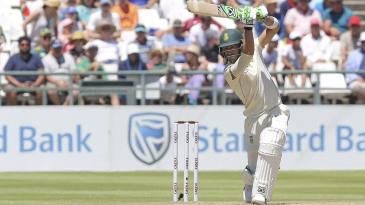 Faf du Plessis leans into a drive