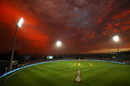 A general view as the sun sets at the Blundstone Arena in Hobart, Hobart Hurricanes v Sydney Sixers, Big Bash League 2018-19, Hobart, January 4, 2019