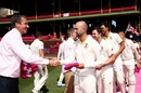 Nathan Lyon and the Australian team present Glenn McGrath with a pink cap, Australia v India, 4th Test, Sydney, 3rd day, January 5, 2019