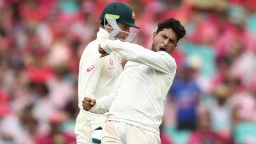 Kuldeep Yadav is jubilant after dismissing Tim Paine