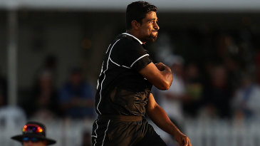 Ish Sodhi leaps in joy after taking a wicket