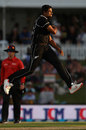 Ish Sodhi leaps in joy after taking a wicket, New Zealand v Sri Lanka, 2nd ODI, Mount Maunganui