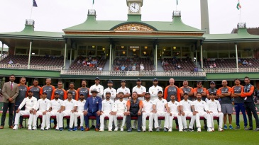 The Indian team and support staff pose for a photo on the final day of the Test series