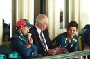 Greg Chappell talks to coach Justin Langer and captain Tim Paine, Australia v India, 4th Test, Sydney, 5th day, January 7, 2019