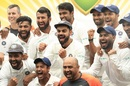 Members of the Indian team celebrate after winning the Border-Gavaskar Trophy, Australia v India, 4th Test, Sydney, 5th day, January 7, 2019