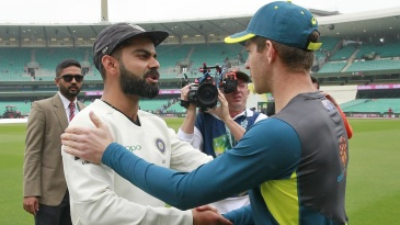 Virat Kohli and Tim Paine shake hands after the series