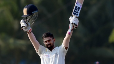 Abhinav Mukund celebrates his hundred