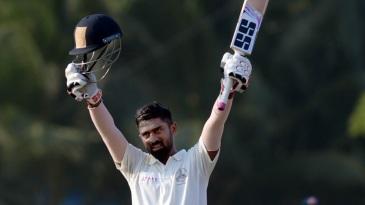 Abhinav Mukund celebrates his hundred