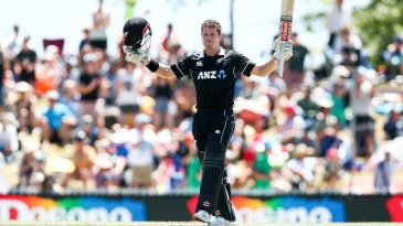 Henry Nicholls soaks in the applause after his maiden ODI century