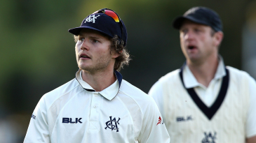 Will Pucovski leads the Victoria players from the field at stumps