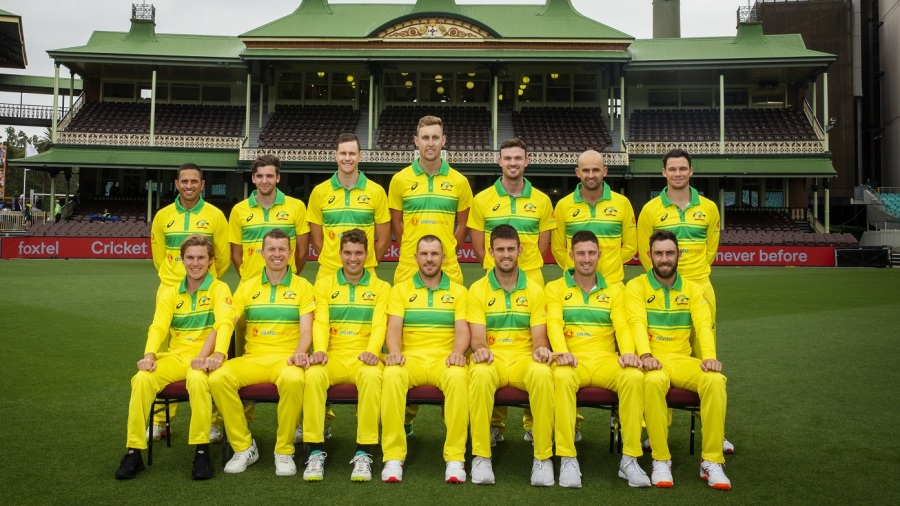 The Australia ODI squad poses in their retro kit
