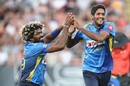 Lasith Malinga and Kasun Rajitha celebrate a wicket, New Zealand v Sri Lanka, Only T20I, Auckland, January 11, 2019