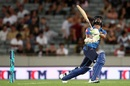 Niroshan Dickwella hits one in the air, New Zealand v Sri Lanka, Only T20I, Auckland, January 11, 2019