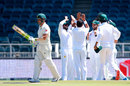 Dean Elgar walks off as Pakistan celebrate his wicket, South Africa v Pakistan, 3rd Test, Johannesburg, 1st day