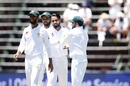 Faheem Ashraf celebrates a wicket, South Africa v Pakistan, 3rd Test, Johannesburg, 1st day