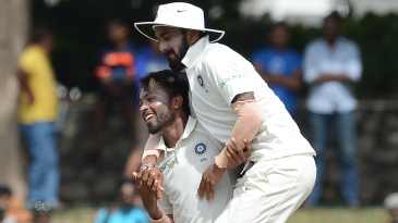 Hardik Pandya and KL Rahul celebrate a wicket