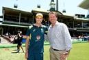 Jason Behrendorff poses with Glenn McGrath after receiving his ODI cap, Australia v India, 1st ODI, Sydney, January 12, 2019