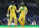 Shaun Marsh congratulates Usman Khawaja on the latter's half-century, Australia v India, 1st ODI, Sydney, January 12, 2019