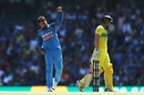 Kuldeep Yadav is chuffed after picking up a wicket, Australia v India, 1st ODI, Sydney, January 12, 2019