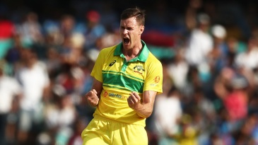 Jason Behrendorff is pumped up after taking a wicket