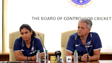 Mithali Raj and WV Raman field questions at the BCCI headquarters