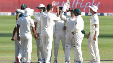 South Africa celebrate after a wicket